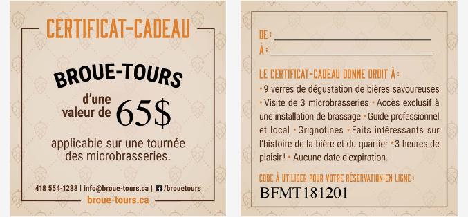 image Certificat-cadeau Broue-Tours